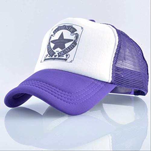 Militär-trucker Hat-cap (Fashion Trucker Hat für Männer und Frauen Sommer Mesh Baseball Cap Unisex Hysterese Hip Hop 56-60cm Lila)