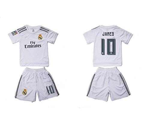 Top Verkauf Real Madrid CF 10James Rodriguez Home Fußball Jersey für Kinder Kid Jugend in weiß Medium weiß