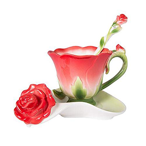 Daxinyang migliore forma 3d rosa del fiore dello smalto in ceramica tazza di caffè tè e piattino cucchiaio di alta qualità in tazza di porcellana creativo regalo di san valentino design,rosso