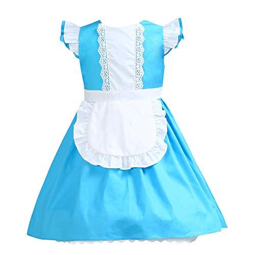 Kinder Schnee Kostüm Prinzessin - Kinder Baumwollkleider Prinzessin Alice Schnee Kostüm Rapunzel Kostüm Halloween Geburtstag Outfit, blau