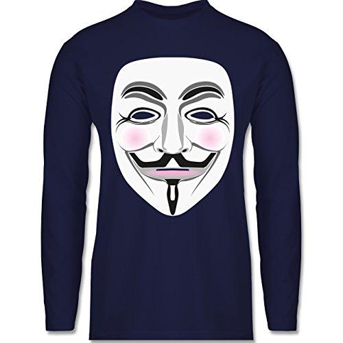 Nerds & Geeks - Anonymous Maske Hacker - Longsleeve / langärmeliges T-Shirt für Herren Navy Blau