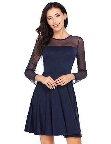 ACEVOG Damen Elegante Langarme Kleider Tüll A-Linien Minikleid Festliches Brautjungfernkleid Abendkleid Partykleid Cocktailkleid (Feine Ärmel Linie Lange)
