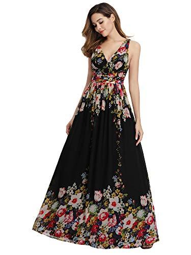 Ever Pretty V-Col Robe de Bal Confortable 44, noir avec motifs colorés floraux