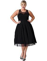 KILOLONE Damen Plus Size Kleid 1950er Cocktailkleid Jahrgang Kleider  Spitzenkleid Langarm Knielang Rockabilly Kleid S- 86ac7234b7