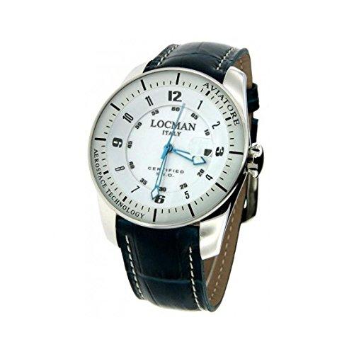 Montre Locman aviateur 0453V03–00whpsb au quartz (Batterie) titane Quandrante Blanc Bracelet Cuir
