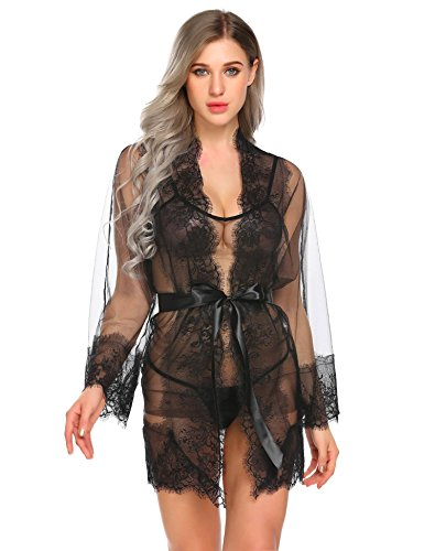 Livesimply Women's See Through Cotton Lingerie Robe Set Lace Mesh Babydoll Nightwear with G-String (Black, Large)