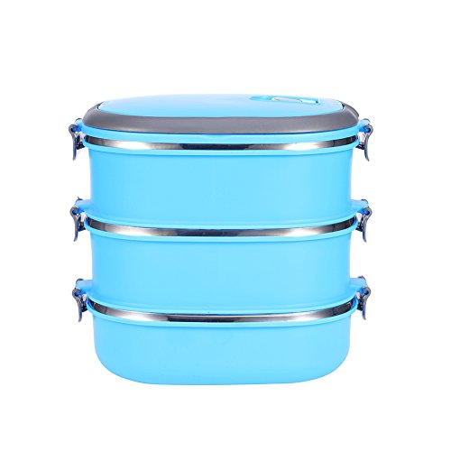 Contenitore per il pranzo ad isolamento termico - portatile, con manico, in acciaio inox, 1/2/3 strati, acciaio inossidabile, 3 layers