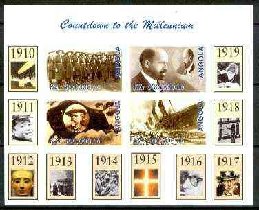 Angola 1999 Countdown to the Millennium #02 (1910-1919) (Girl Guides Buffalo Bill Titanic) SCOUTS COWBOYS RACISM SPACE EGYPTOLOGY WW1 FILMS CINEMA BOVINE AMERICANA DISASTERS SHIPWRECKS JandRStamps -