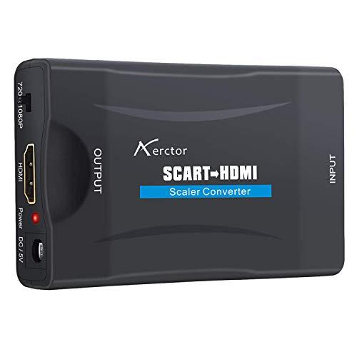 Aerctor Adattatore SCART HDMI per TV - Convertitore Presa Femmina da SCART Composito a HDMI Digitale Converter Upscaler Adpator Audio Video CVBS Input Lettore DVD Blu ray VHS PS2 Wii to LCD Samsung LG