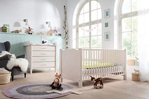 Biokinder Komplett-Set Feli Babyzimmer mit bionik Matratze aus Massivholz Birke weiß lasiert -