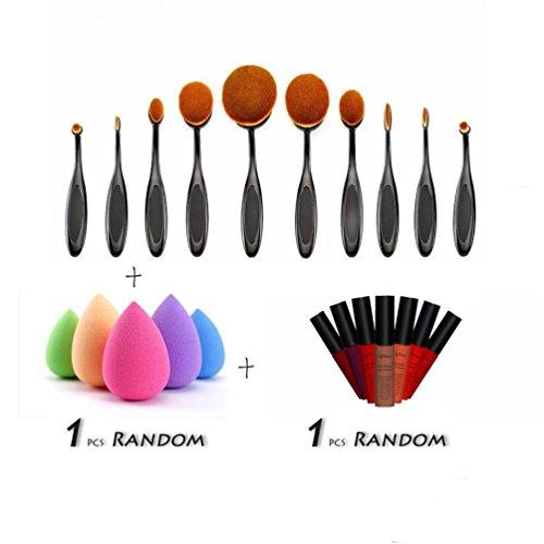 timesong Pro Lot de pinceaux de maquillage brosse poudre fard à joues Fond de teint visage outil + 1 brillant à lèvres + sans Puff éponge