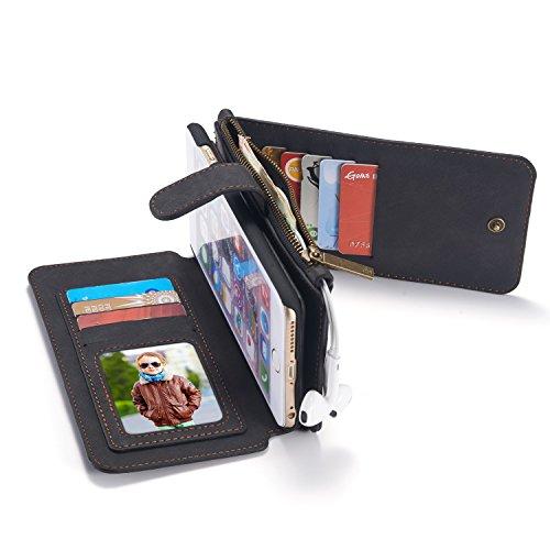 Originale caseme Custodia in pelle Flip Cover per iPhone 55S SE 66S Plus Portafoglio con cerniera grande scomparto, Cavalletto, 13x carte di credito e foto telaio, Pelle, nero, for iPhone 6/6S 4.7i nero