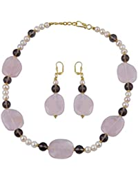 Freshwater Pearl, Smoky Quartz And Rose Quartz Necklace Set For Women