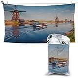 Mulini a vento olandesi lungo un canale Asciugamano rinfrescante Asciugamani da palestra in microfibra Asciugamani da spiaggia firmati Asciugamani da spiaggia Asciugamani da spiaggia per bambini 27,