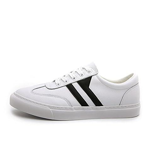 Homme basket mode chaussure de skate-board sneakers cuir slip-on chaussure isoloir chaussure de sport loisir légère simple blanc 41