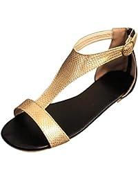 63400af9 Sandalias Romanas Mujer , Sandalias Mujer Verano 2019 Sandalias de Mujer  con Punta Abierta y Transpirables Zapatos Planos Casuales Chanclas…