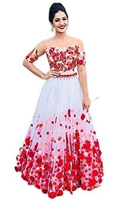 Fast Fashions Women's Heavy Net Embroidered Semi Stitched Lehenga Choli (White_Rose)