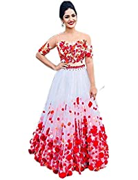 e9096790d3147 Fast Fashions Women s Heavy Net Embroidered Semi-Stitched Lehenga Choli  (FF-5060