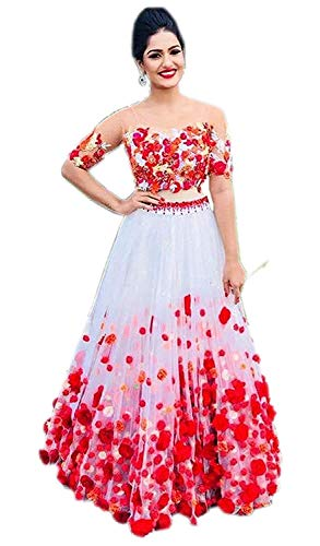 Fast Fashions Women's Heavy Net Embroidered Semi-Stitched Lehenga Choli (FF-5060, White Rose, Free Size)