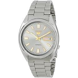 Seiko SNXS75K Gent's 5 Watch Automatic Analogue Grey Dial Steel Strap Grey