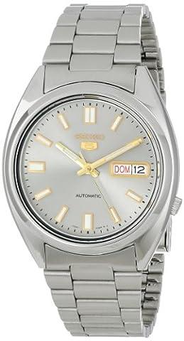 Seiko SNXS75K Gent's 5 Watch Automatic Analogue Grey Dial Steel Strap Grey - Day Date Mens Orologio Da Polso