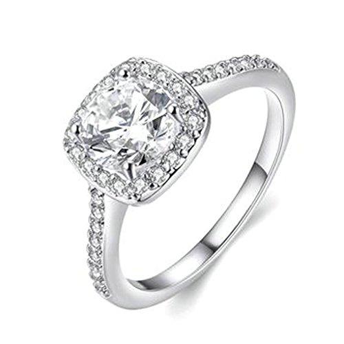 -Ring Weiß Gold Vergolet Tauringe Quadrat Zirkonia Hochzeit Verlobungsring Größe 60 (Quadrat Verlobungsring Weißes Gold)