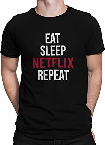 vanVerden Hombres Camiseta Comer Sueño Netflix Repetir, Tamaño:XXL, Color:Negro/Blanco