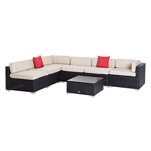 Salon de jardin 6 pers. grand confort canapé d'angle + table basse + coussins assise & dossier + 2 coussins déco. fournis polyester beige résine tressée noire 21