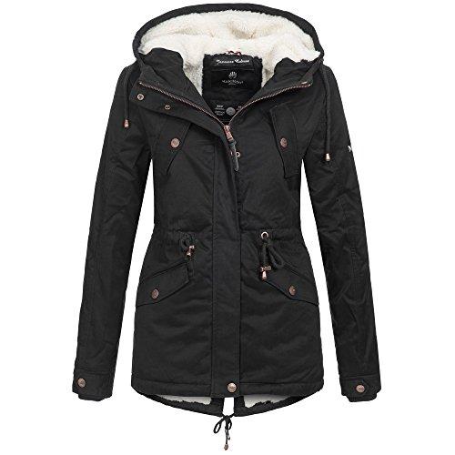 Marikoo MANOLYA Damen Jacke Parka Mantel Winterjacke warm gefüttert Teddyfell 4 Farben, Größe:L - 40;Farbe:Schwarz