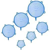 6 قطع من أغطية السيليكون القابلة للتمدد، ويمكن إعادة استخدامها، تناسب أحجام وأشكال مختلفة من الأوعية، أغطية متينة قابلة للتمدد لأوعية الطعام