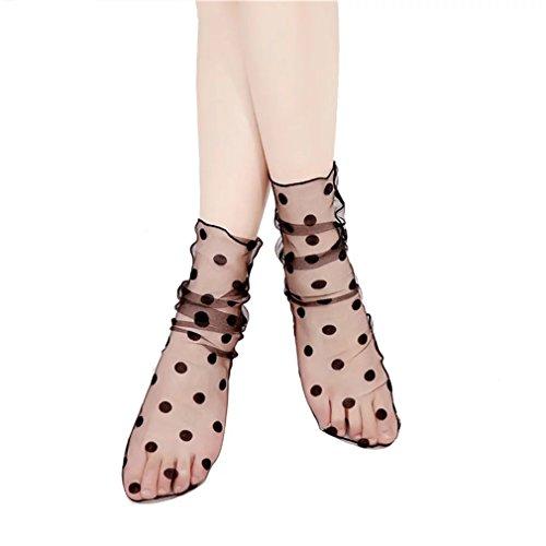 PreSox Sexy Fischnetz Nahtlose Nylon Mesh Höhle aus Spitze Socken mit Rüsche Bright Draht für Frauen -
