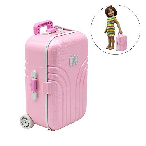 Ablerfly Doll Suitcasetoy Viaggi Treno Valigia Bagaglio Case Fashion Bambola Dress Storage Case Toys Cute Exquisite Mini Tronco Portapacchi Boot per Ragazza Ragazzo, Rosa, as Show