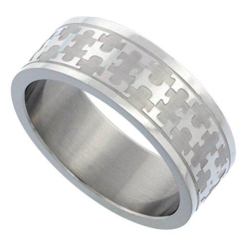 Edelstahl 5/16In. (8mm) Ring w/Puzzle Muster (erhältlich in Größen P bis Z + 2), Größe T