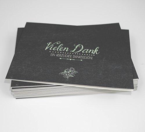 20 Karten & 20 Umschläge: Klappkarten Dankeskarten Tafeloptik Chalkboard DIN A6 im Set, Danke sagen mit Danksagungskarten nach Hochzeit, Geburt, Baby, Taufe,