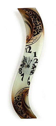 levandeo Design Wanduhr aus Glas black gold - Designer Glasuhr - Sehr Hochwertig - Handarbeit - Exklusives Unikat - Größe 50x8cm (Gläser Black Gold)
