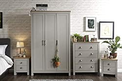 Home Source Country Pine MDF 4 Pc Bedroom Set - Wardrobe Chest of Drawers 2 Bedside - Grey