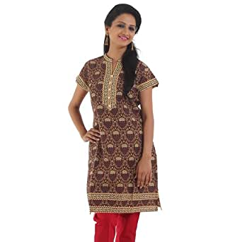 Morpankh Women's Ethnic Cap Sleeve Short Kurta, Brown, X-Large (1000057100005)