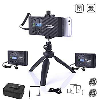 Comica CVM-WS60 COMBO Wireless Dual Lavalier Microphone, with 2 Transmitter and 1 receiver, UHF 8 Channels, 194FT Wireless Range, Universal for Smartphone & Canon Nikon Sony Panasonic Camera etc.