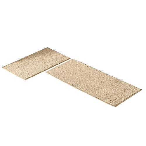 SJZC Teppich Rutschfeste Reinigung KüChe Matte Hause Schlafzimmer Bett Lange Streifen Teppich,Camel,50×120+50×80CM - Camel Outdoor-teppich