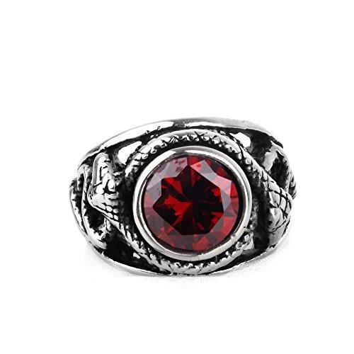 COPAUL Schmuck Edelstahl Herren-Ring,Rot Zirkonia Diamant,Schlange,Größe 62 (19.7) (Ring Diamant-herren)
