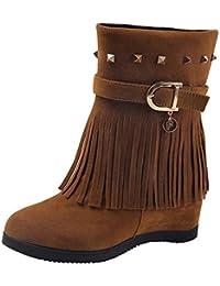 Botas y Botines Altos para Mujer Otoño Invierno Moda 2018 PAOLIAN Botas  Camperas cuña Tacón con Fleco Botas Militares Zapatos… 4cb018c0a8ce