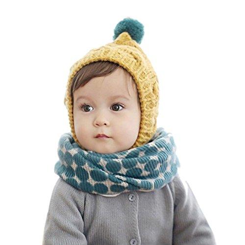 Culater® Autunno Inverno Bambini Stampa collare sciarpa a maglia O-ring del collo sciarpe (blu)