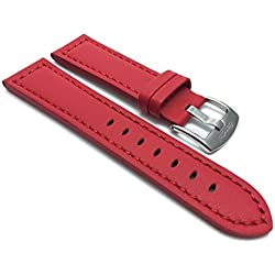 26mm Red Racer with Stitching, Genuine Leather Watch Strap Band, with Stainless Steel Buckle, NEW!