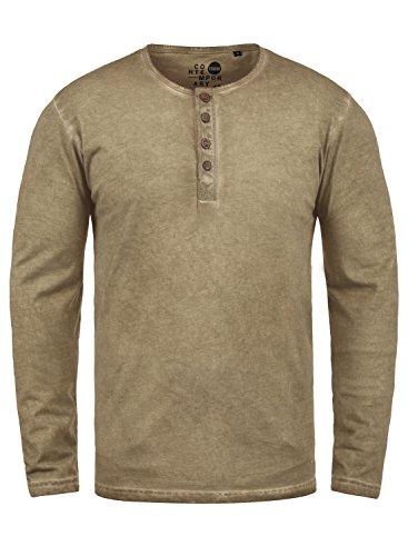 !Solid Timur Herren Longsleeve Langarmshirt Shirt Mit Grandad-Ausschnitt Und Brusttasche Aus 100% Baumwolle, Größe:3XL, Farbe:Dune (5409) -