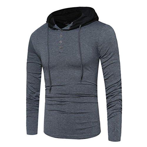 SHOBDW Mode Mens Round Neck Langarm Casual Hood T-Shirt Tops T-Shirts Dunkelgrau