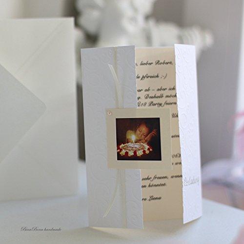 12 Einladungskarten Einladung Geburtstag Kommunion Konfirmation Firmung Mädchen mit Foto und Druck individuell handgefertigt Handarbeit binnbonn