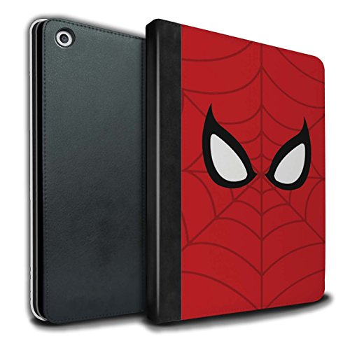 Stuff4® PU-Leder Hülle/Case/Brieftasche für Apple iPad 9.7 (2017) Tablet/Spider-Man Maske Inspiriert Muster/Superheld Comic-Kunst Kollektion