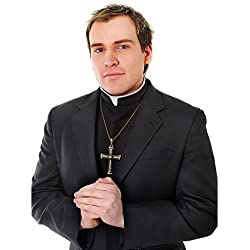 Black Shirt Front With Collar Vicar Priest Fancy Dress Costume Vicars & Tarts (disfraz)