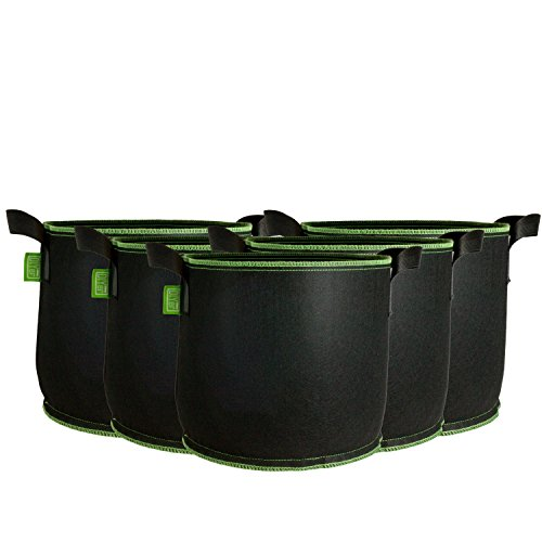 DIYer Pflanzsack aus Vliesstoff - 5 Gallonen, ca. 20 Liter - 5er Pack Pflanztasche Kartoffelsack Pflanzbeutel - Die gesunde Alternative