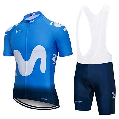 SUHINFE Conjunto Ropa Equipacion, Ciclismo Maillot y Culotte Pantalones Cortos con 5D Gel Pad para Verano Deportes al Aire Libre Ciclo Bicicleta, MOV-Blue, XL
